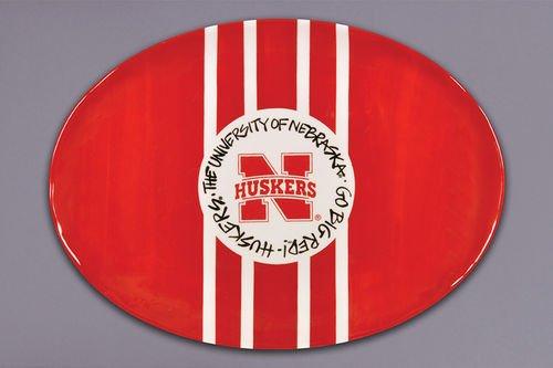 Magnolia Lane Collegiate Ceramic Mascot Platter (Nebraska Cornhuskers)