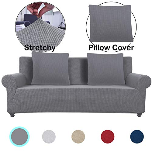 Lumibee Stretchable Loveseat Slipcover 1-Piece with 2 Pillow Covers Chair Sofa Cover Furniture Protector Couch Soft with Elastic Bottom Anti-Slip Foam, Spandex Jacquard Fabric (Dark Grey, 2 Seater)