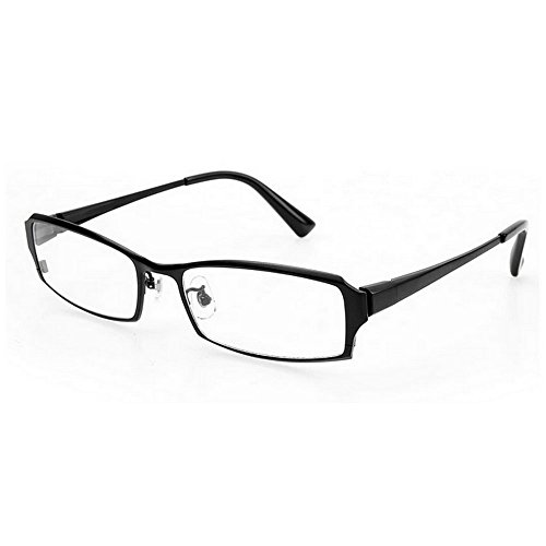 MINCL/Pure Titanium Full Frame Business Glasses Frame Eyeglasses Clear Lens (black, - Black Plain Glasses