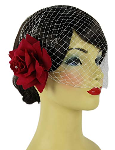 Red Rose One Velvet (Bonitagirl Dark Red Velvet Rose Flower Hair Clip With Crystals And Birdcage Veil (White Birdcage Veil))
