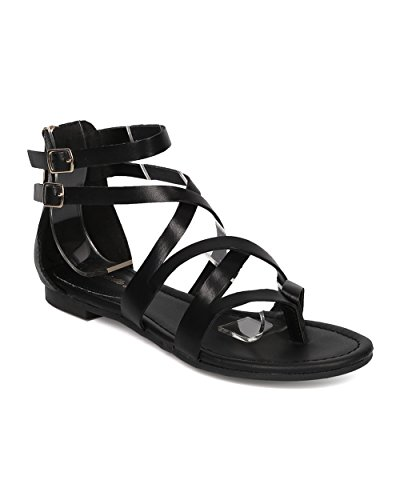 [Women Criss Cross Gladiator Sandal - Casual, Costume, Girls Night - Strappy Flat Sandal - GG54 By Breckelles - Black (Size:] (Gladiator Costumes Shoes)