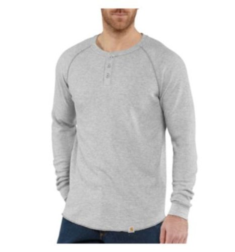 Henley Lightweight Knit Thermal (Carhartt Men's Lightweight Thermal Knit Henley Slim Fit,Heather Gray (Closeout),X-Large)