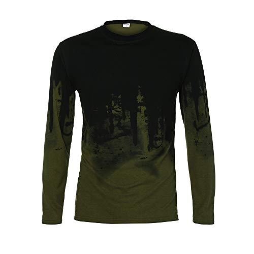 ◕‿◕ Toponly Men Gradient Color Long Sleeve Beefy Muscle Basic Solid Tee Shirt Top -