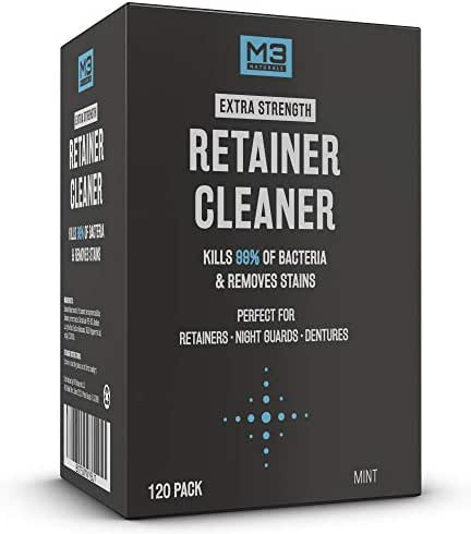 M3 Naturals Retainer and Denture Cleaner Tablets Anti Bacterial Removes Bacteria Stains Bad Odors Invisalign Nightguard Mouth Guard Snore Sport Night Bite Cleaning Dental Appliances Case 120 Tablets