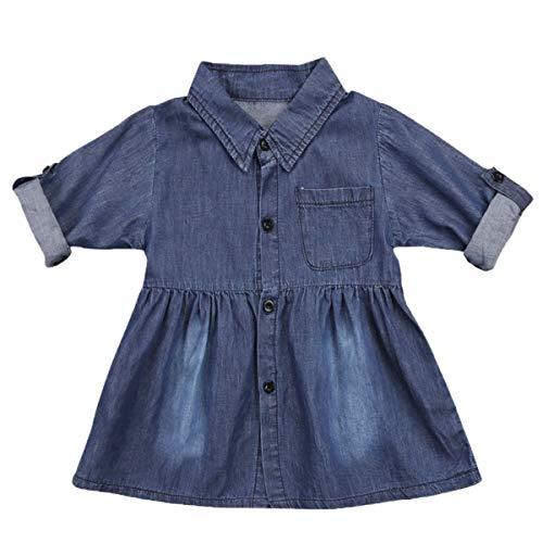 MA&BABY Toddler Baby Girls Denim Dress One-Piece Long Sleeve Shirt SkirtCasual Outfits Blue, 3T (Shirt Dress Denim)
