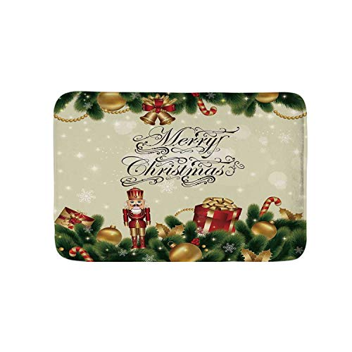 (YOLIYANA Christmas Soft Door Mat,Noel Ornaments with Birch Branch Cute Ribbons Bells Candy Canes Art Image for Living Room,19.6