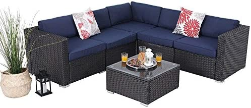 8fe244dd3459 Amazon.com: PHI VILLA Outdoor Rattan Sectional Sofa- Patio Wicker Furniture  Set (6-Piece 1): Kitchen & Dining