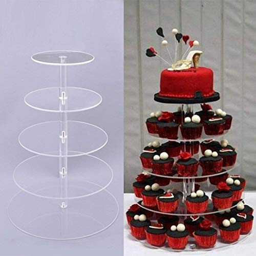 Cheesea 5 Tier Round Cupcake Stand Stacked Party Clear Acrylic Cake Dessert Tower Wedding Food Display Stand (Clear)