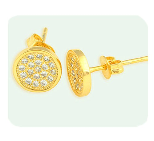 Round Curved 18k gold filled earring with lab simulated diamonds suitable for men/women.