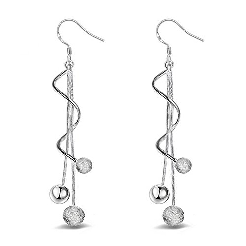 Yevison 1pair Silver Earring Jewellery Woman Bohemian Style Sparkling Beads Long Pendant Ear Studs Dangle Lady Earring Lady Dress Accessories Love Gift Durable and Useful