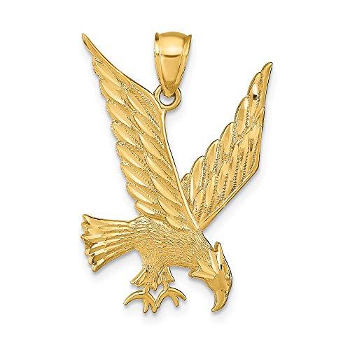 - 14K Yellow Gold Diamond Cut Eagle Pendant