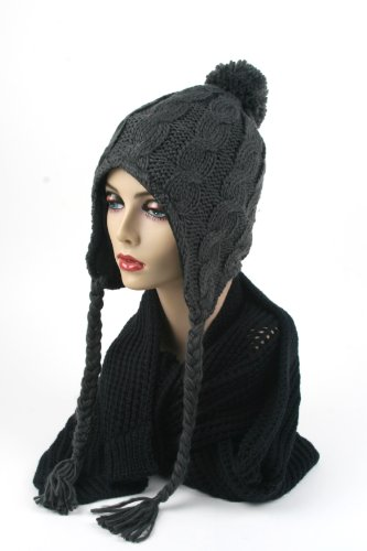 Women's Trapper Knit Winter Ear Flap Hat P212 (Charcoal)