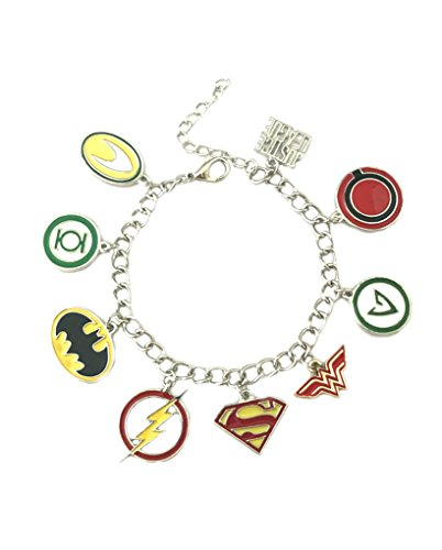 Athena Brands Justice League Logo Charm Bracelet Quality Cosplay Jewelry DC Comics Movie Cartoon Series with Gift Box]()