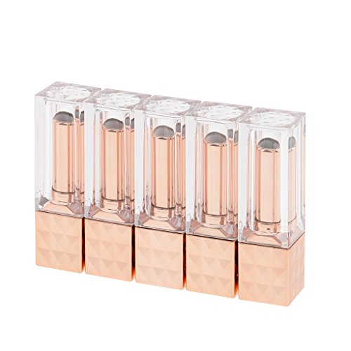 B Blesiya Fashion 12ml 5x Lip Balm Empty Bottle Lipstick Tubes Bottom Twist Containers - Rose ()