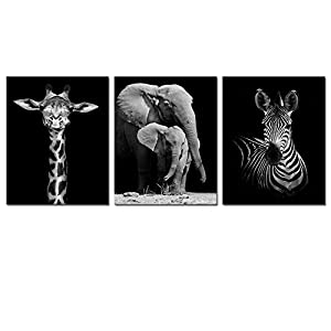 Visual Art Decor Modern Black and White Canvas Wall Art,Animals Picture Prints,Elephant,Zebra,Giraffe Painting Printed on Canvas,Framed and Stretched,Wall Decoration
