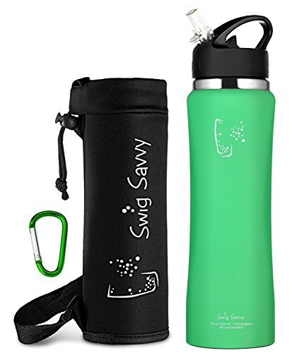 Swig Savvy's Stainless Steel Insulated Water Bottle Wide Mouth 24oz / 32oz Double Wall Design with Straw Flip Cap - Great For Kids - Sweat Proof - Including Water Bottles - Pack To You When Camping What Go