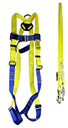 Peakworks (4456-KIT03S) V8252356 Fall Protection Kit, 5 Point Adjustable Harness with 6\' Shock Absorbing Lanyard and 2 Double Locking Snaphooks, Polyester, Universal, Yellow/Blue