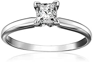 14k Princess Cut Solitaire White Gold Engagement Ring (1/2carat, J-K Color, I3 Clarity), Size 6