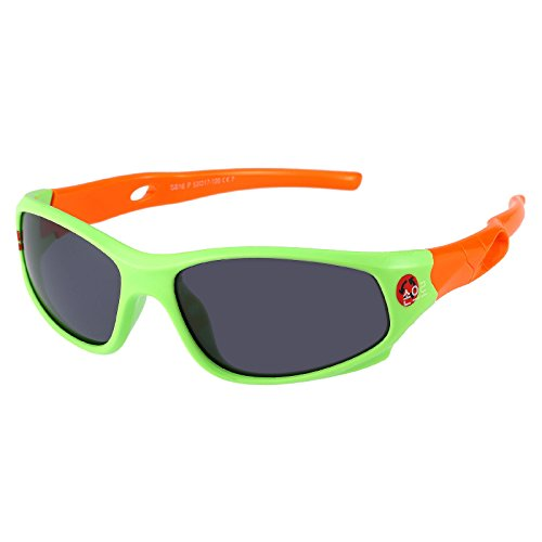 Kids Sports Style Polarized Sunglasses Rubber Flexible Frame For Boys And Girls Age 3-10 (Green/orange)