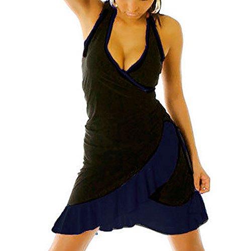 Salsa Balza Ballo Danza Merengue Viola Li Donna Vestitino Abito Latino Dress Miniabito Nero 1490 qX7FaxW