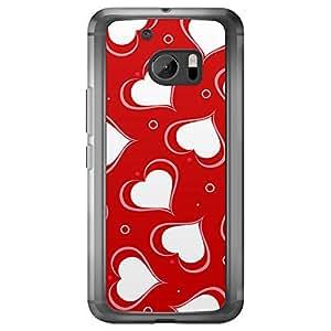 Loud Universe HTC M10 Love Valentine Printing Files Valentine 128 Printed Transparent Edge Case - Red & White