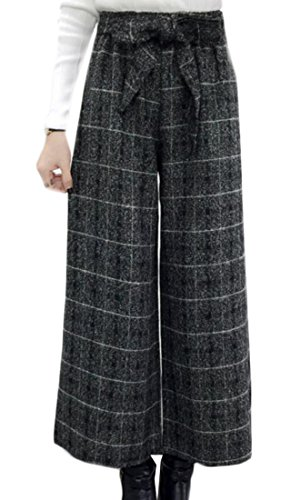 Plaid Wool Pants (Cruiize Womens Baggy Wool Pants Plaid Belted Wide Leg Straight Trousers Grey XL)