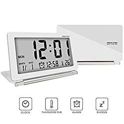 Digital clock,travel clock,econoLED Multifunction Silent LCD Digital Large Screen Travel Desk Electronic Alarm Clock, Date/Time/Calendar/Temperature Display, Snooze, Folding (White+Silver) US Seller