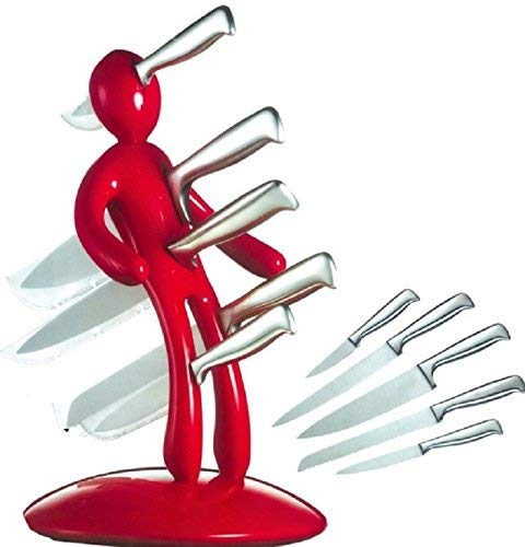 Kitchen Knife Block Set, BGVIP Humanoid Tool Carrier Premium Stabbing Man Stainless Steel Knife Set Men are jerks -Pack of 5 (Red)