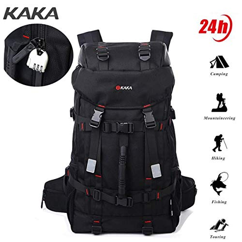 Kaka Travel Backpack 17 inch Laptop Backpack with Password Lock Waterproof Anti-Thef Oxford Fabric Backpack Traveling Mountaineering Trekking Rucksack 55L(Black)