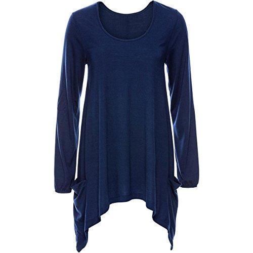 Irregolare Blu Jahurto Autunno con Shirt Fondo alla Inverno Colore T in da Casual Donna Camicia Dimensione Fondo L 8qpqwZX