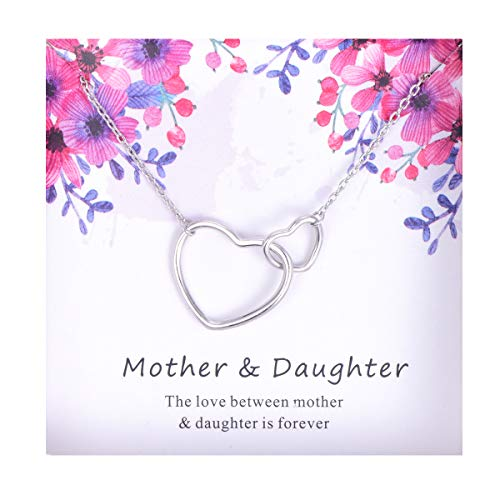 Cladtina Mother Daughter Necklace Sterling Silver Interlocking Hearts Jewelry Gift for Women