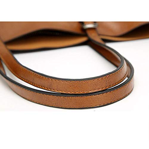 Capacité Fourre tout à Femmes Main Sacs élégantes Pochettes Brown Mode Sacs Rivet Carrées Loisirs Haute Sac Multifonctions qRnO4w4