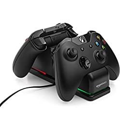 AmazonBasics Dual Charging Station for Xbox One, Xbox One Standard, And Xbox One Elite Controllers – Black