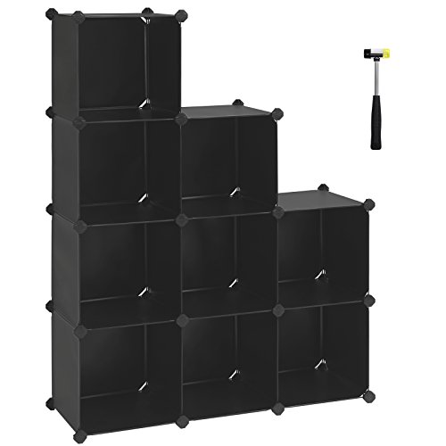 SONGMICS Cube Storage Organizer, 9-Cube Closet Storage Shelves, DIY Plastic Closet Cabinet, Modular Bookcase, Storage Shelving for Bedroom, Living room, Office, with Rubber Hammer Black ULPC33B by SONGMICS