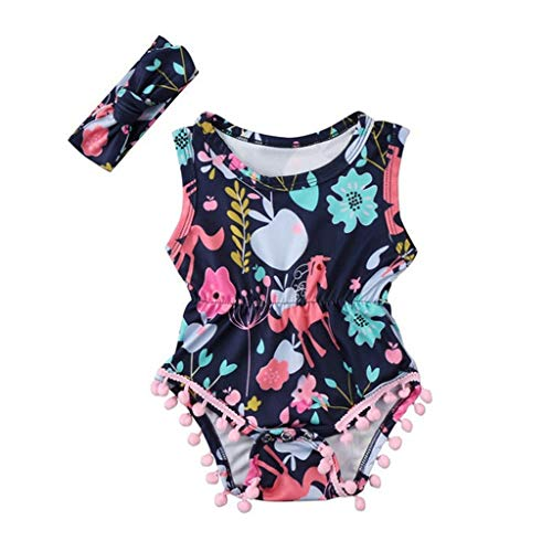 WOCACHI Toddler Baby Girls Clothes, Newborn Baby Kids Sleeveless Floral Printed Headband Romper Outfit Clothes Set Back to School Easter Egg Costume Parade Bunny Lily Eggs Roll Basket Mother's -