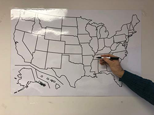 (Copy King Blank US Map Laminated Dry Erase Poster, Reusable United States Map 24