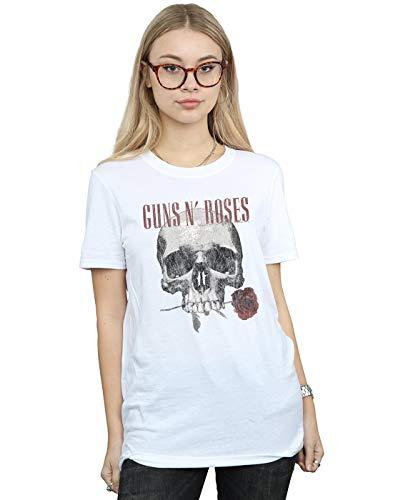 (Guns N Roses Women's Flower Skull Boyfriend Fit T-Shirt White Large)