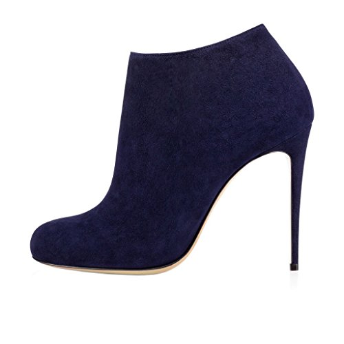 Closure Heels Boots Toe Zvviors A Thin Women's Round EKS Zipper Winter High Dark Dress Autumn Side Blue XOwq6xP86