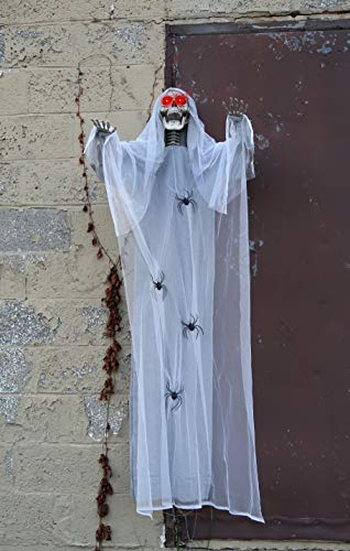 4E's Novelty Halloween Hanging Creepy Spooky Angel Skull Props – 78 Inches – Horror Scene Decorations, Outdoor Yard Décor, with Gray and White Web Cloth, Spiders Crawling Around & Red LED Eyes