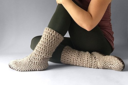 Muffle Boot Fawn - House Shoe for Women, Eco Wool Shoes, Custom Made Booties, Cute Slippers Women, Crochet Shoes, Eco Friendly Slippers by Muffle-Up!