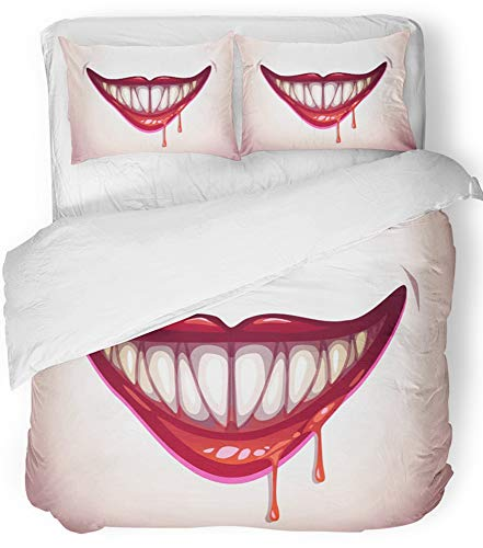 Emvency 3 Piece Duvet Cover Set Breathable Brushed Microfiber Fabric Red Clown Vampire Mouth Creepy Lips in Blood Halloween Smile Angry Beautiful Bedding Set with 2 Pillow Covers Full/Queen Size for $<!--$99.90-->