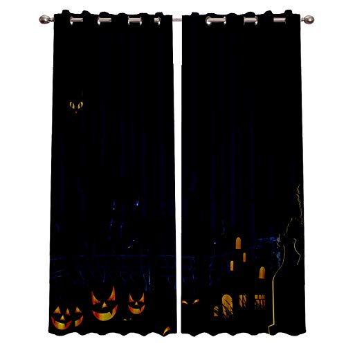 Blackout Grommet Curtains for Living Room Halloween Pumpkin Tomb and Black Cat Home Decor Treatment Thermal Darkening Drapes Window Curtains for Bedroom (2 Panels, 40 x 84 Inch Each Panel)