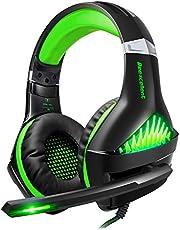 ShinePick Gaming Headset, Headset für Xbox One PS4, 3.5mm LED Licht Bass Stereo mit Weich Mikrofon Kopfhörer für PS4 Xbox One Nintendo Switch PC Laptop Mac Handy Tablet