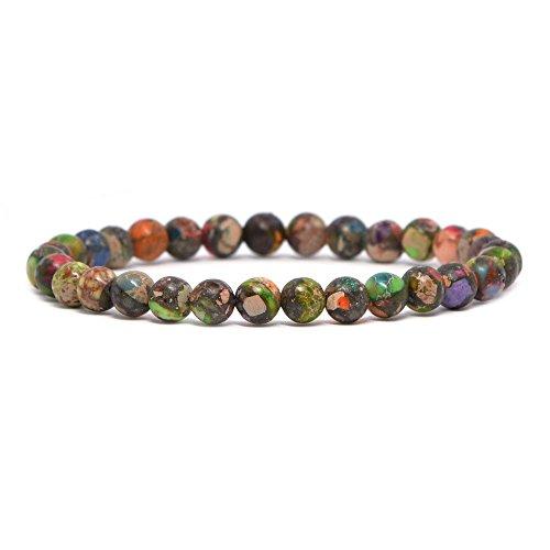 Dyed Multi-color Sea Sediment Jasper Pyrite Gemstone 6mm Round Beads Stretch Bracelet 6.5