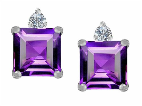 Star K 7mm Square Cut Simulated Amethyst Earrings Studs Sterling Silver ()