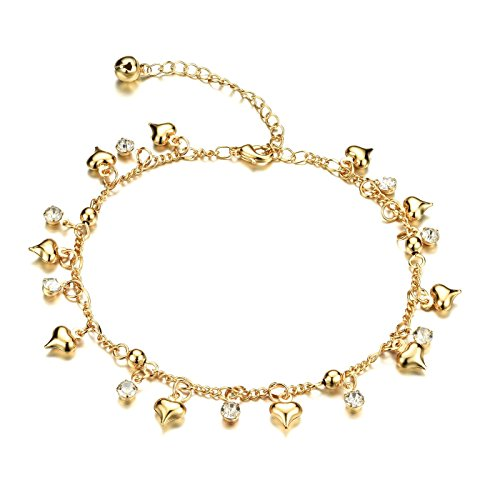 Fate Love Heart Shape Pendant Twisted Rope Chain Anklet 18k Gold Plated Foot Chain, 8