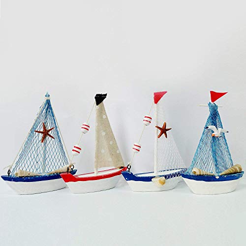 Handcrafted Hand Painted Vintage Nautical Wooden Ship Sailboat Boat Decorative Model Set Coastal Themed Home Kitchen Tabletop Decoration 5.7'' H Set of 4
