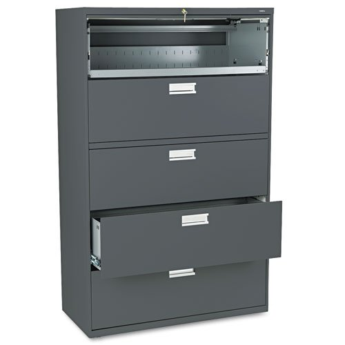 HON 695LS 600 Series Five-Drawer Lateral File, 42w x 19-1/4d, Charcoal