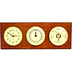 Time Tide Clocks, Barometer and Thermometer Color: Oak