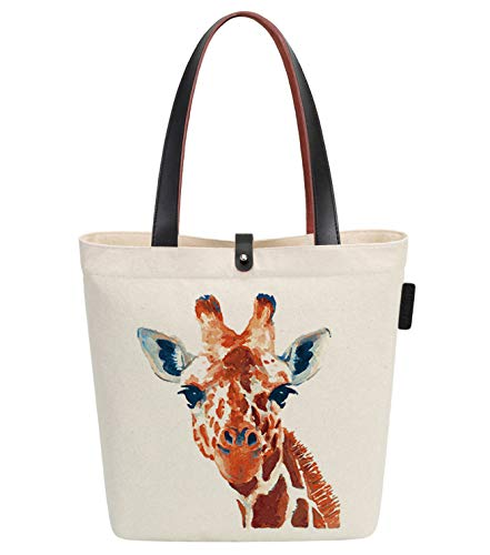 So'each Canvas & Beach Tote Bag Giraffe Art Painting Graphic Handbag Shoulder - Giraffe Bags Tote